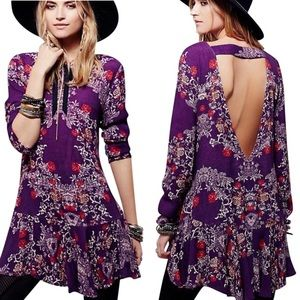 Free People Smooth Talker Tunic Dress in Plumberry